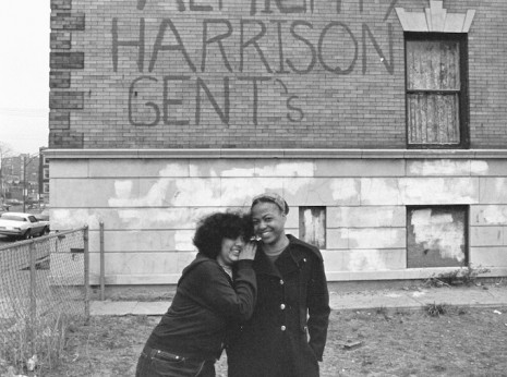 Two African-American Women with gang graffiti in background. Uptown, Chicago, mid-1970s.