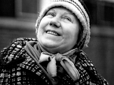 Image of happy older woman taken on the street in Chicago