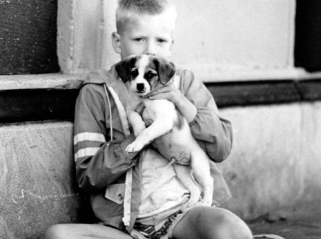 Image of young boy hiding behind puppy. Taken on the street in Chicago