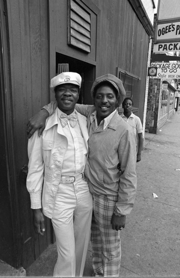 Two Friends Outside a Bar in Chicago