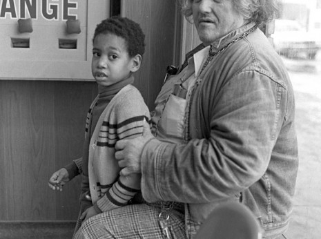 Man and Boy in Laundromat
