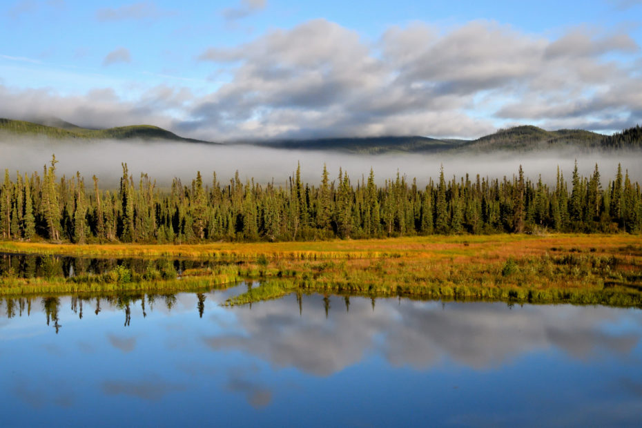 Alaskan Lake, just several miles across the Alaskan Border from Beaver Creek, Yukon Territory, Canada.